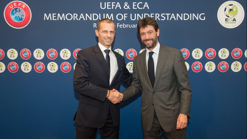Les Présidents de l'UEFA et de l'ECA, Aleksander Čeferin et Andrea Agnelli