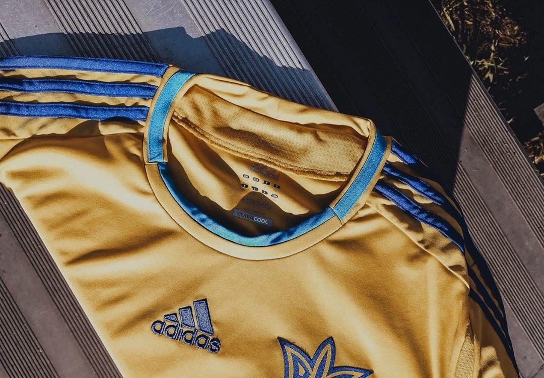 Le maillot de la sélection ukrainienne pour l'Euro 2012 en partie à domicile.